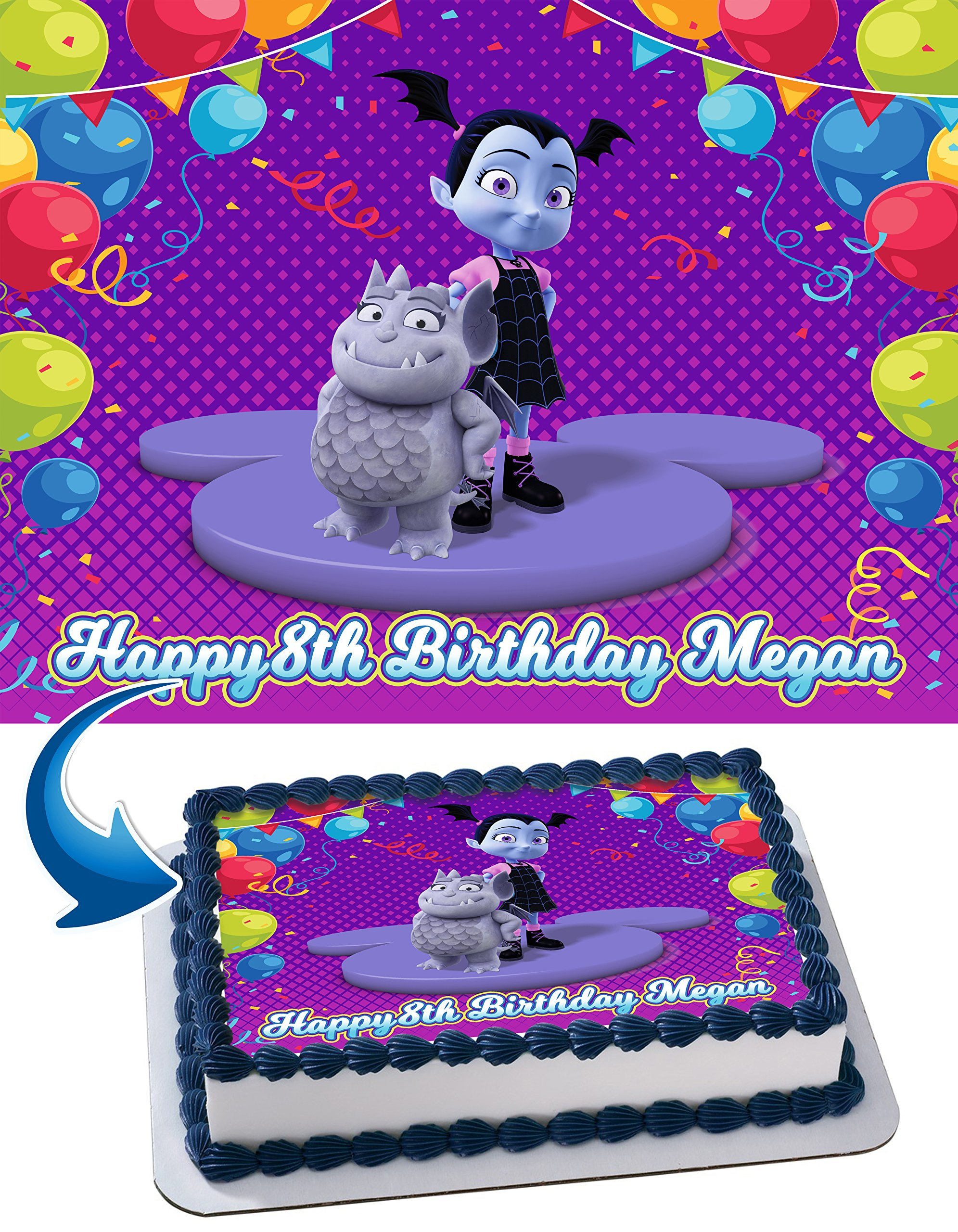 ea098c6cc5af Get Quotations · Vampirina Birthday Cake Personalized Cake Toppers Edible  Frosting Photo Icing Sugar Paper A4 Sheet 1
