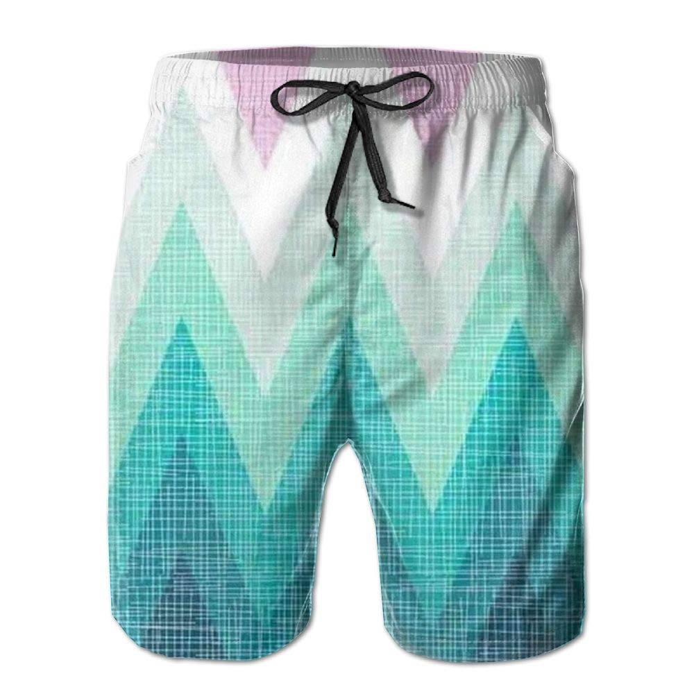 Mens Blueline USA Flags Classic Quick Dry Swim Trunks Elastic Drawstring Cargo Shorts with Pocket