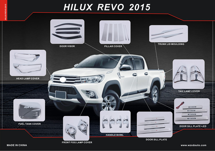 CHROME 4 DOOR HANDLE HAND COVER TRIM FOR HILUX REVO M70 M80 TRUCK 2016 : hilux door - pezcame.com