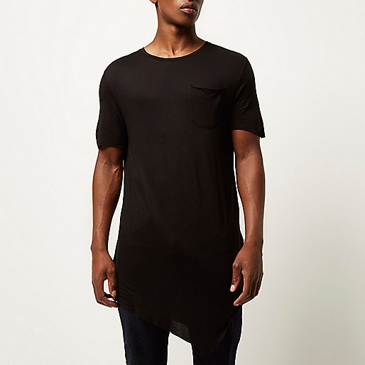 Lightweight jersey Oversized draped design Chest pocket longline tshirts
