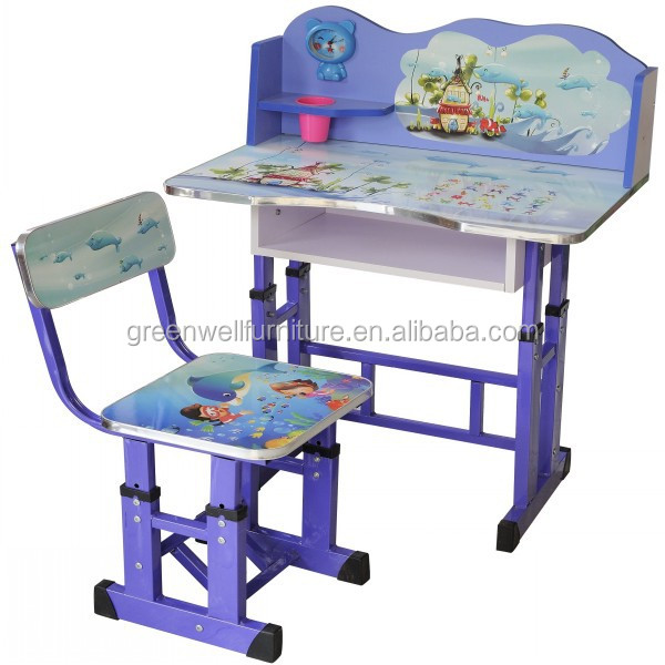 green adjustable children furniture study kids table and