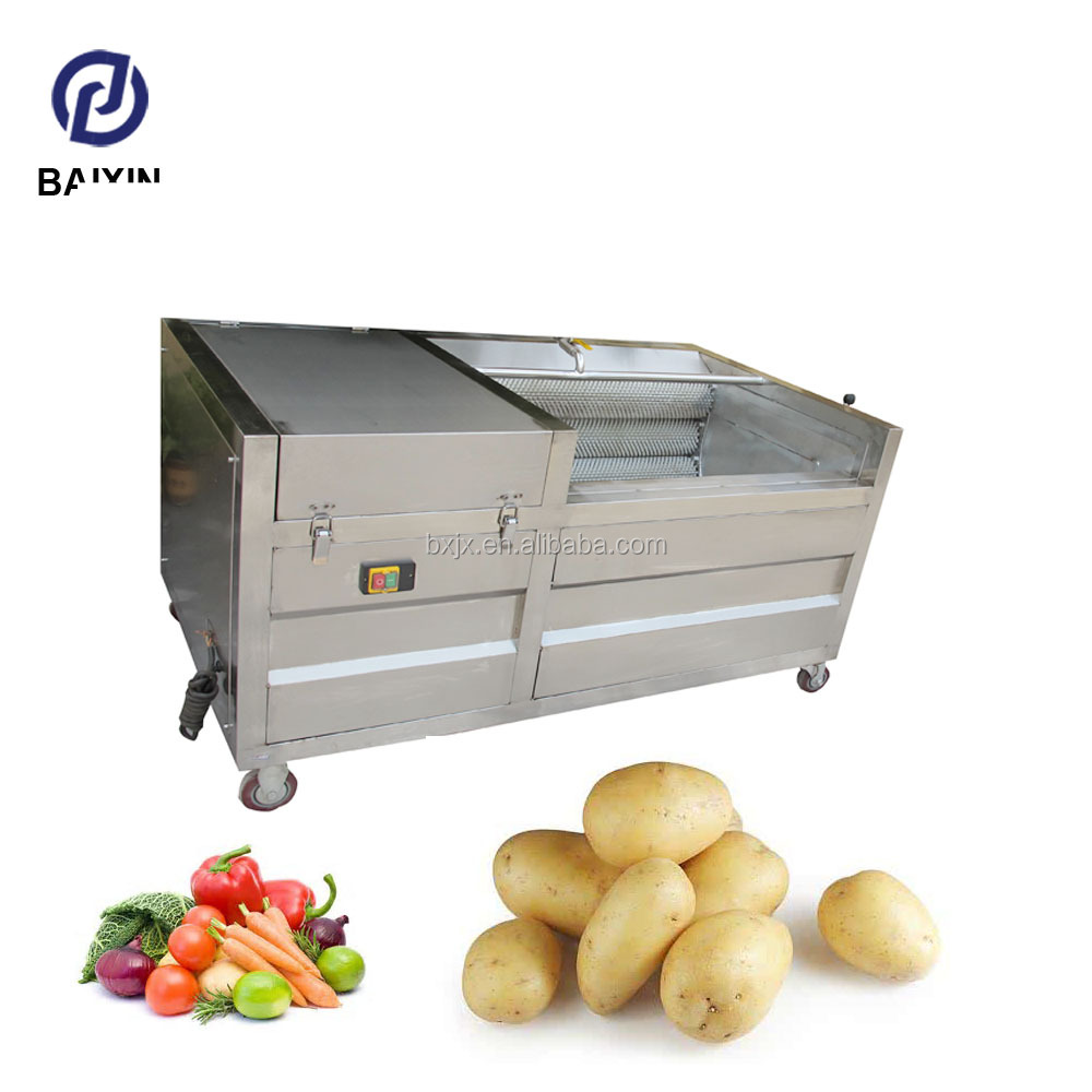 Industrial vegetable roller brush cleaning and pelling machine for potato carrot