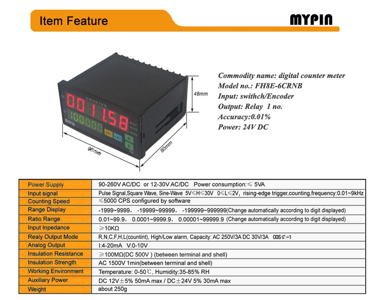 2016 MYPIN Battery powered 24VDC one preset cable length counter meter( FH8E-6CRNB)