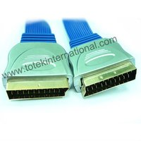 Metal jacket scart cable-blue