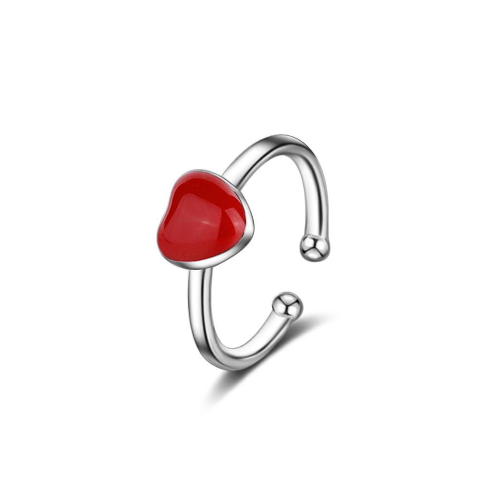 Adjustable Cute Heart Shape Party Rings White & Red Colors Rings For Women Fashion Jewelry Party Accessories