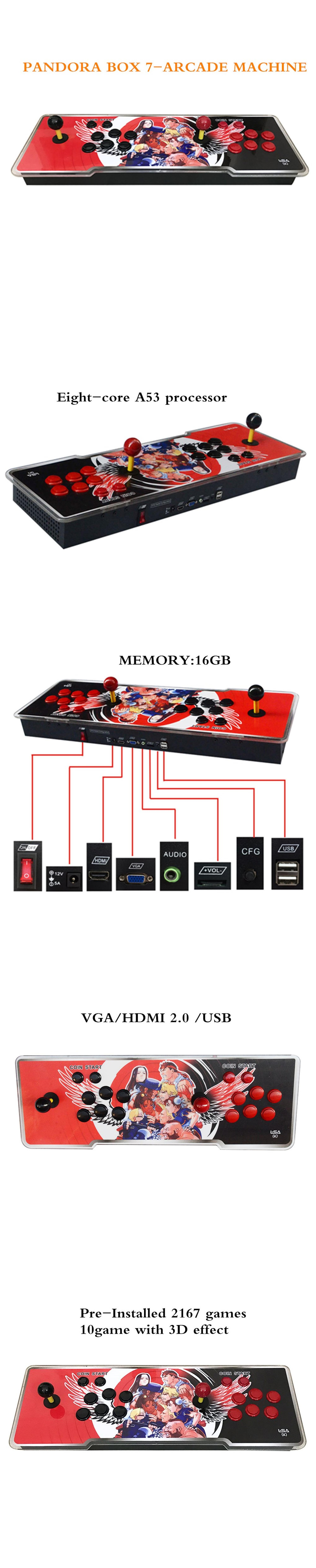 Factory Directly Sale 3D Pandora Box 7  Console With 2167 Built-in  Games Support CP1, CP2, NEOGEO, Arcade Games  For Sale.