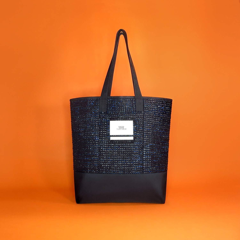 Get Quotations · Boucle shiny black   blue soft tweed tote bag Made in  France dabaf080bddd2