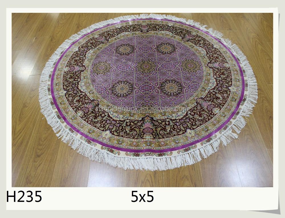 populaire couleur belgique tapis soie fait main tapis rond tapis 5x5 pieds - Tapis Rond Color