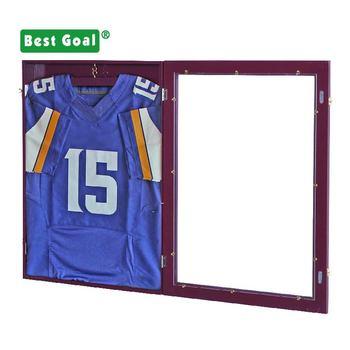 Wall hard wood shadow box for basketball jersey football jersey display case 469320585