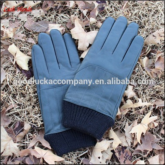 2016 winter leather gloves for men with knitted cuff