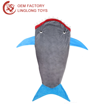 Custom Cartoon Shark Sleeping Bag Gray Sea Fish Mat Blanket Plush Shape Sofa