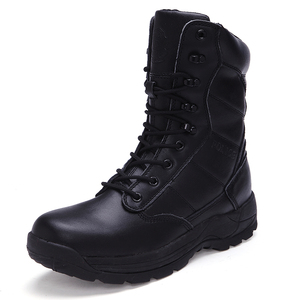 Mens and womens army high ankle boots with fur lining black colour