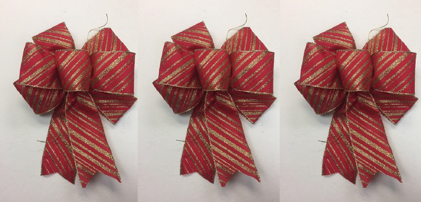 get quotations wired red bow with gold glitter stripes christmas bows 3 handmade holiday bows 8 9