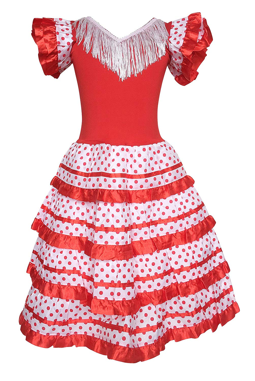 5bd0b3072b4a La Senorita Spanish Flamenco Dress Princess Fancy Dress Costume Girls/Kids  Red White