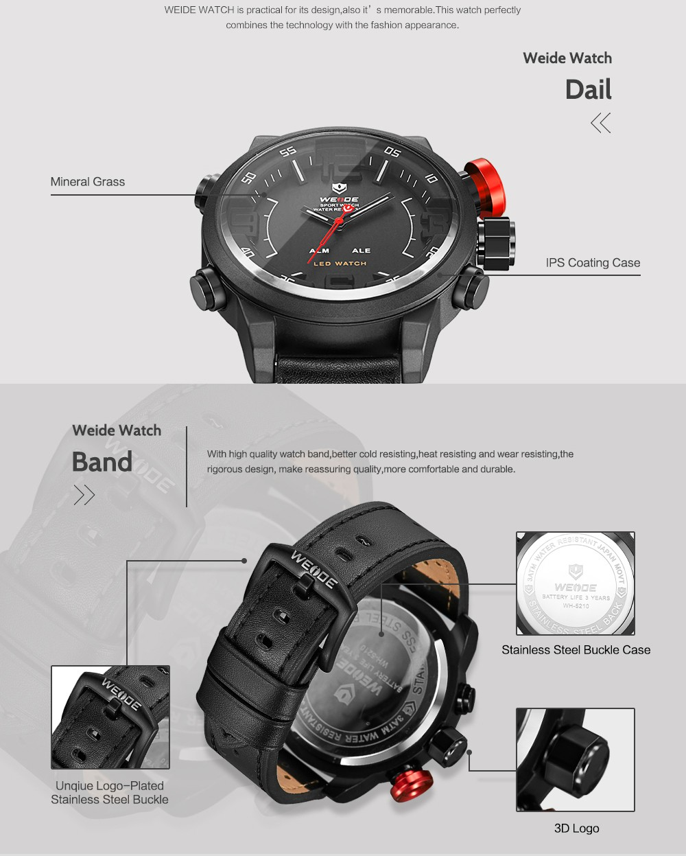 waterproof mens watches sports sporty black for digital product weide high quality men detail