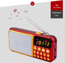 Mini FM Radio With 2600mAh Battery 30 Hour For Play Time Build In Two TF Card Slot USB Player Speaker Stereo Audio Receiver