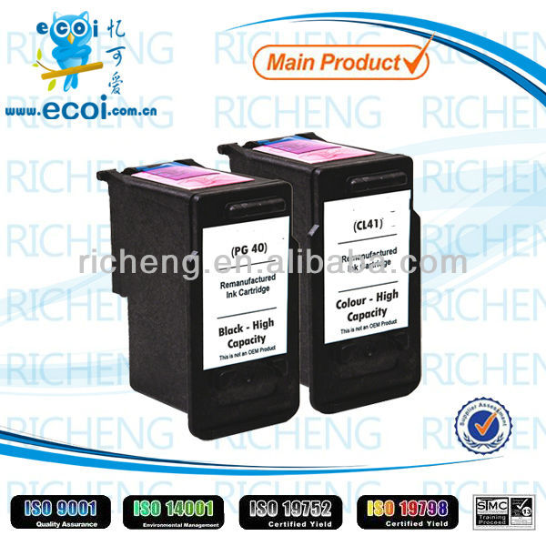 Refillable printer ink cartridge PG40 CL41 ink cartridge in Zhuhai China
