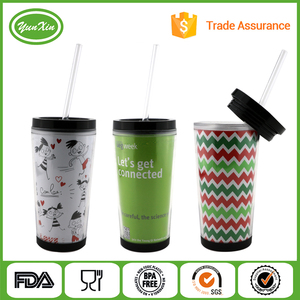 Top selling BPA free double wall plasitc tumbler with straw