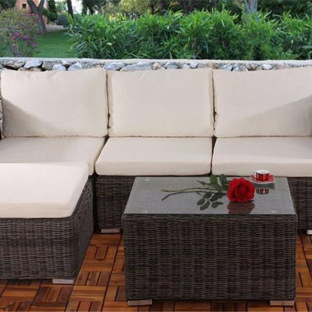5 Pieces Old Style Backyard Wicker Rattan Patio Furniture Outdoor Designer  Sofa Turkish