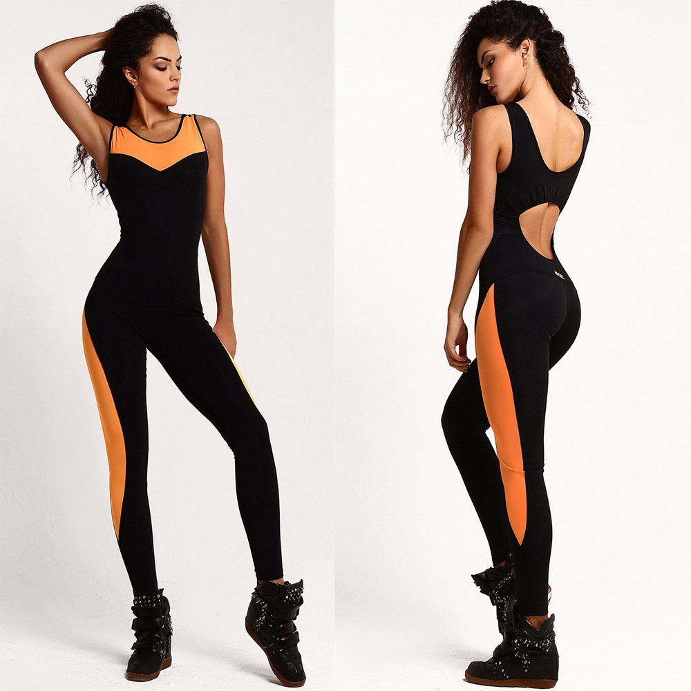 b497a8567841 2019 2017 Mesh Patchwork Sports Suits Sexy Bodycon Jumpsuit Women ...