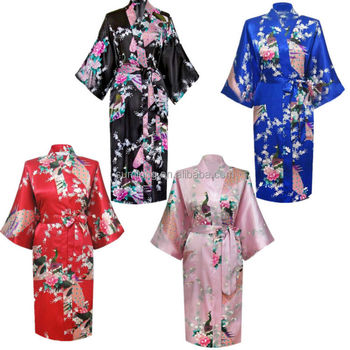 26f84ddf69 10 Colors Women Peacock Kimono Robe Silk Pajamas Girl Sleepwear Summer  Yukata with Belt China Factory