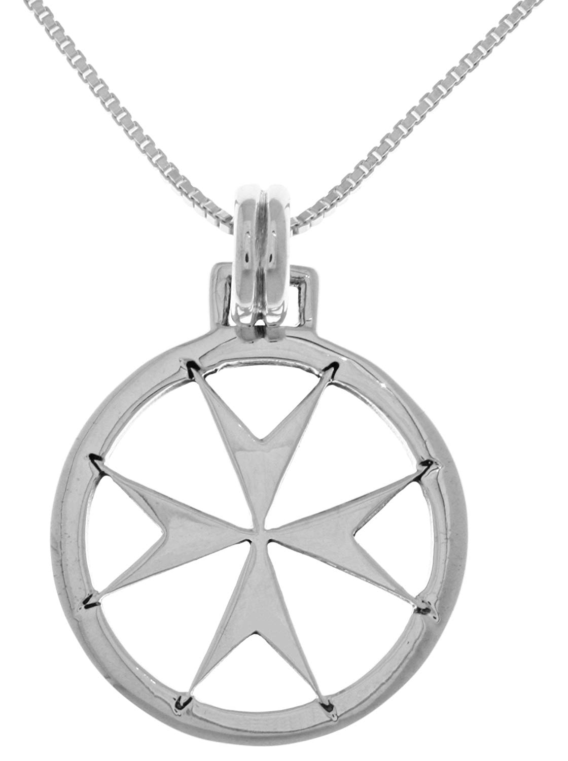 Sterling Silver Oxidized Small Size Fire Department Maltese Cross Emblem Pendant and Polished Box Chain Necklace