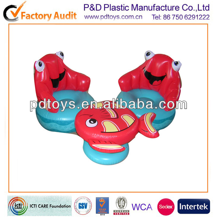 PVC frog fish shape inflatable table chair for kids