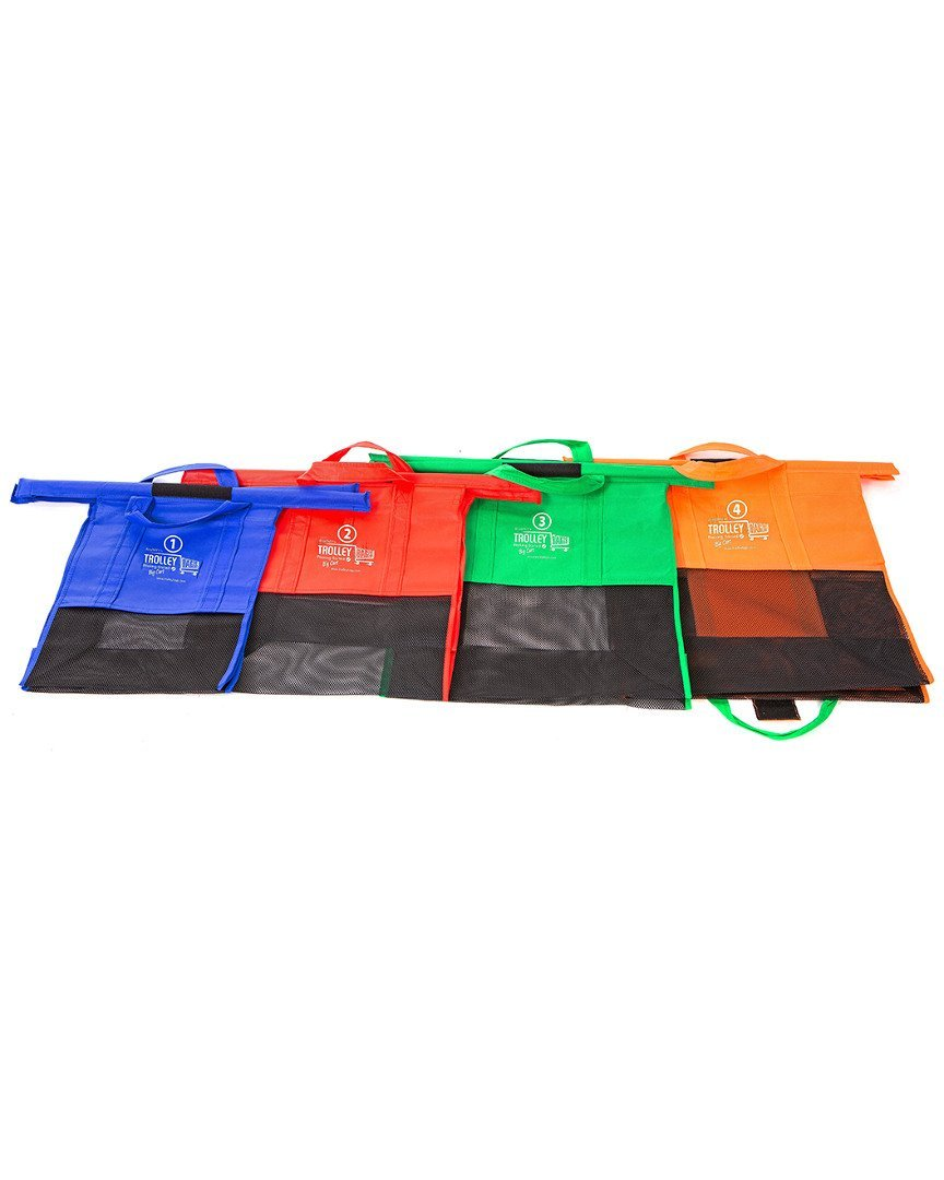 Cheap 4 portable eco-friendly reusable folding foldable shopping trolley bag for supermarket