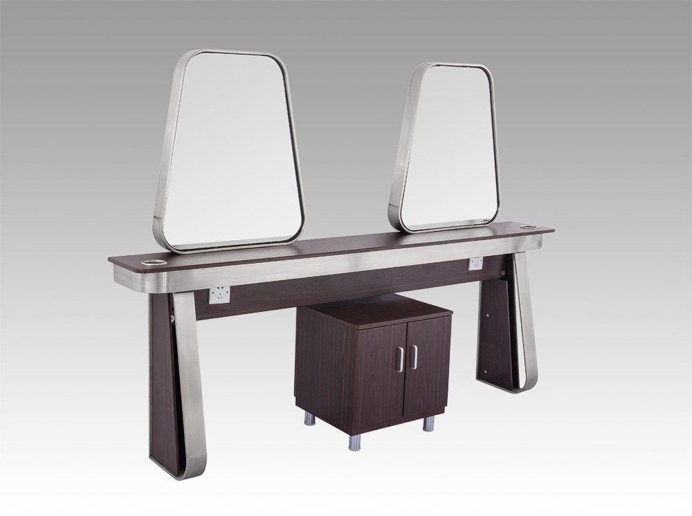 4 sides stainless steel frame wood table cheap styling for Salon table and mirror