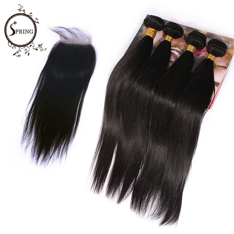 Spring Hair 4 bundles with closure Malaysian Straight 6A Virgin Human Hair Bundles #1B Color Aliexpress UK queen hair products