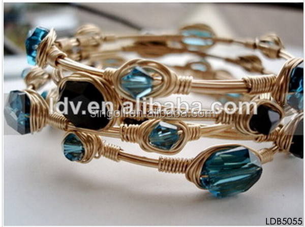 HANDMADE DIY WIRE WRAPPED STONES GOLD BANGLE BRACELET, View ...