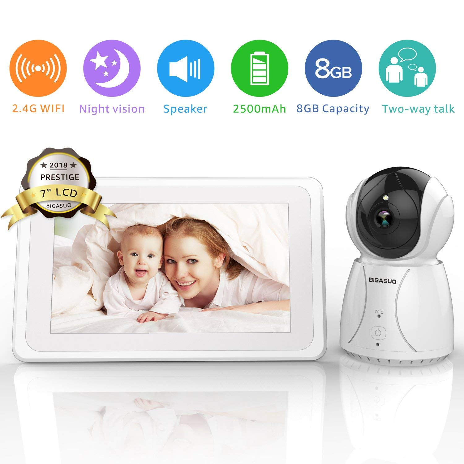 """Baby Monitor, Video Baby Monitor with Camera 7"""" Large LCD Screen - 2.4GHz WiFi Baby Camera Monitor Infrared Night Vision, Auto-Scan, Two Way Talk, Temperature Monitoring, 5 Lullabies"""