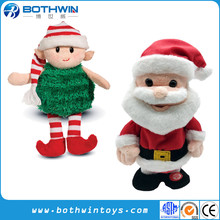 Custom Christmas Singing Stuffed Animal Reindeer Santa Claus Penguin Toy Light Up White Teddy Bear Soft Mini Elf Plush Toy