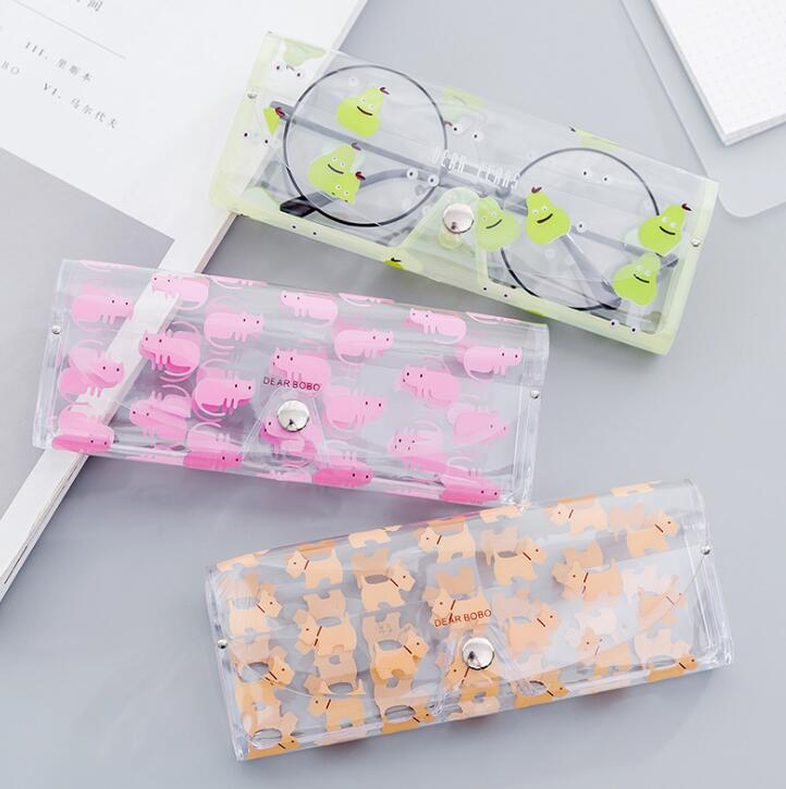 Back To Search Resultsoffice & School Supplies 1pcs Cartoon Animals Transparent Plastic Eye Glasses Protector Case With Metal Button Sunglasses Box Fruit Animal Pencil Case Pencil Cases & Bags