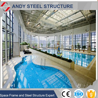 Light Steel Grid Structure Space Truss Roof Web Frame Prefabricated Warehouse Workshop Indoor Swimming Pool For Sale
