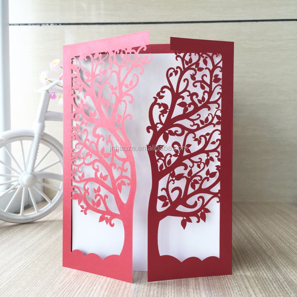 Customized Birthday Greeting Card Wedding Invitation Card Tree Design Laser Cut Card Buy Wedding Invitation Card Laser Cut Wedding Birthday Party