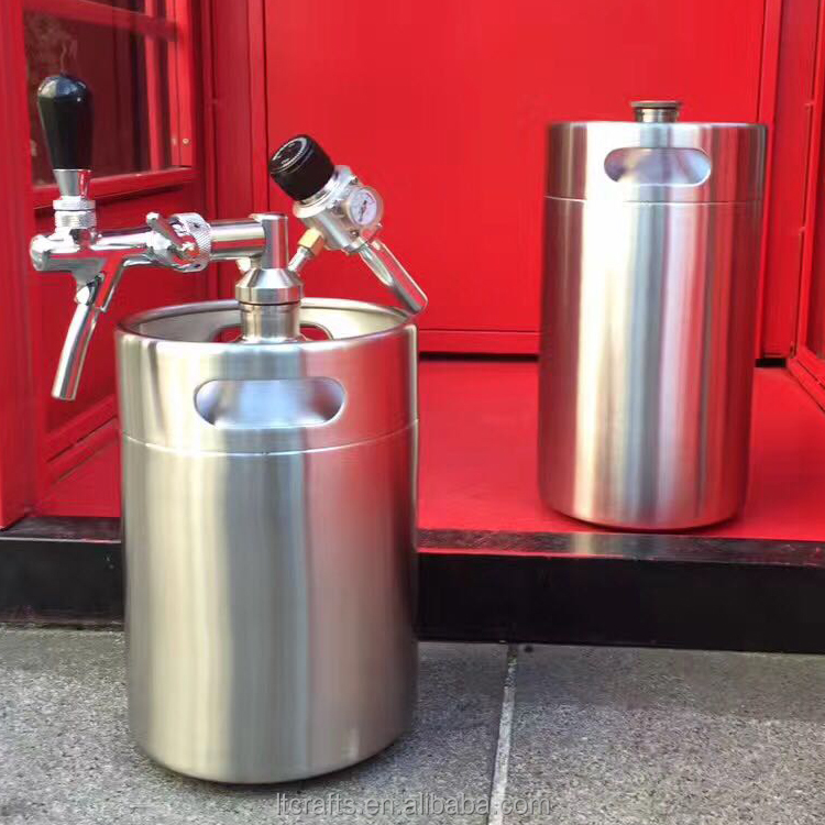 home brewing used 64 Ounce 18/8 stainless steel mini beer keg