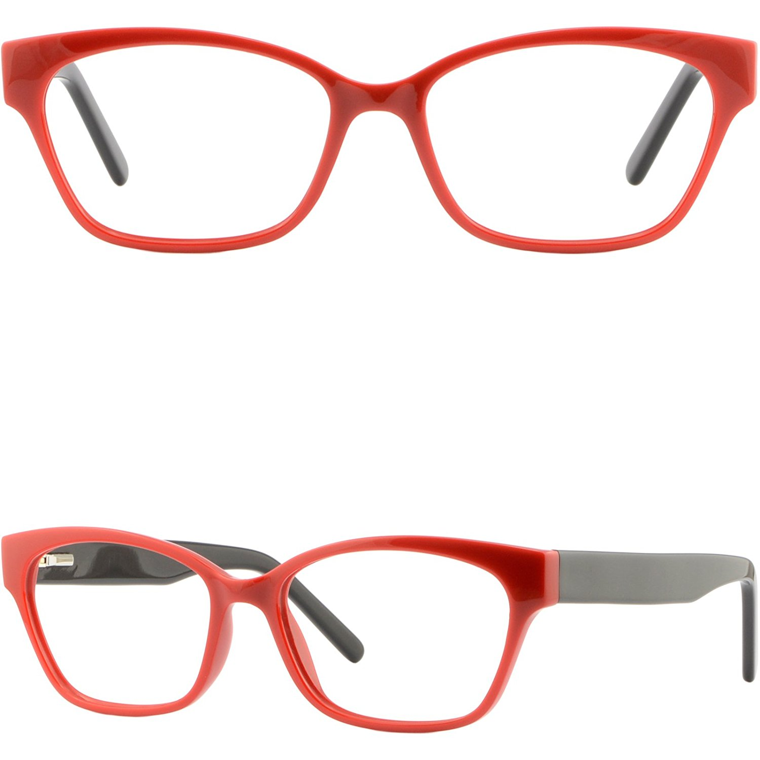 31dd3410ea Square Womens Acetate Frame Plastic Eyeglasses Glasses Spring Hinges Red  Glasses