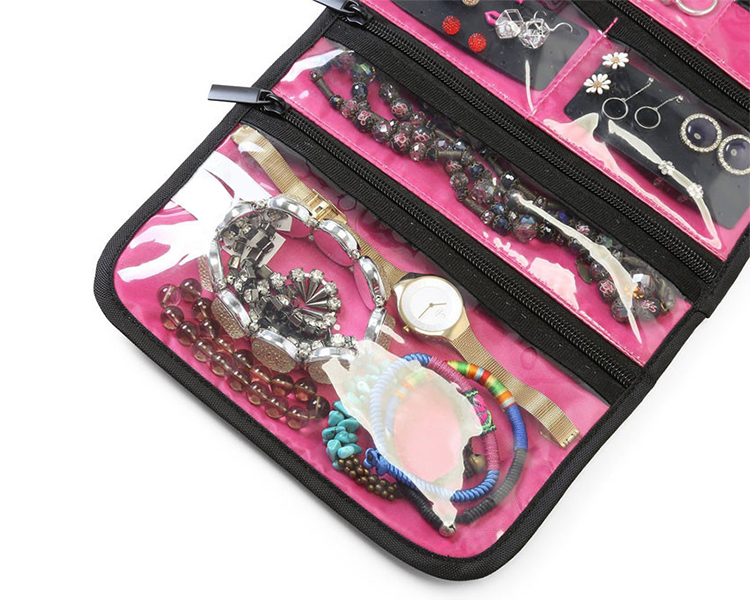 Wholesale cheap jewelry organizer hanging jewelry roll bag