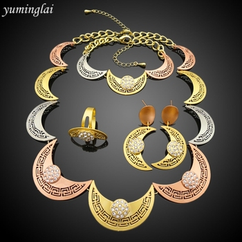 New model fashion jewelry accessories sets bridesmaids with 24k dubai gold plated