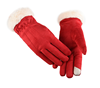 Suede fabric women fleece polyester warm stock winter glove