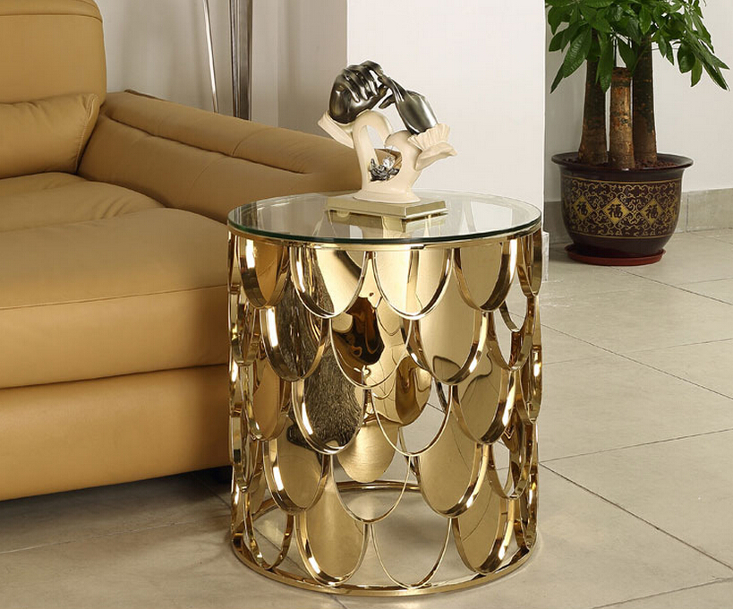 Rose gold color stainless steel glass coffee table living for Glass living room table
