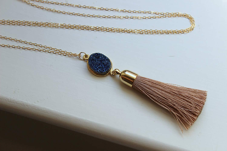 Blue Druzy Necklace Beige Tassel Necklace - Druzy Tassel Necklace - Fringe Necklace - Fringe Jewelry - Tassel Jewelry - Druzy Jewelry - Drusy Necklace - Drusy Jewelry