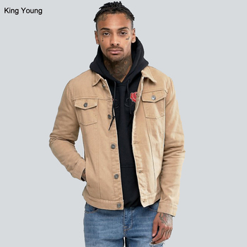 KY wholesale beige Point collar Button placket Functional pocketsTan mens denim jeans Jacket men