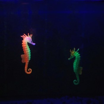 wholesale aquarium Aquarium Decoration Silicone floating glowing seahorse