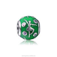 custom made 925 sterling silver enamel european charms bead for bracelet making