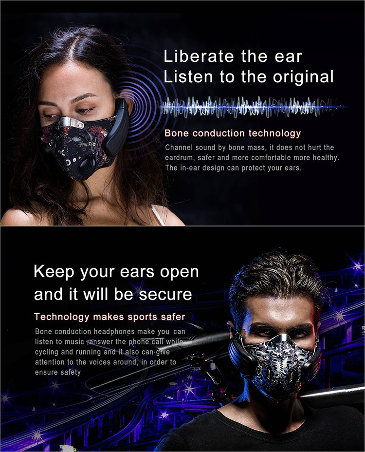half face bone conduction earphone and filter respirator smart mask for bicycling