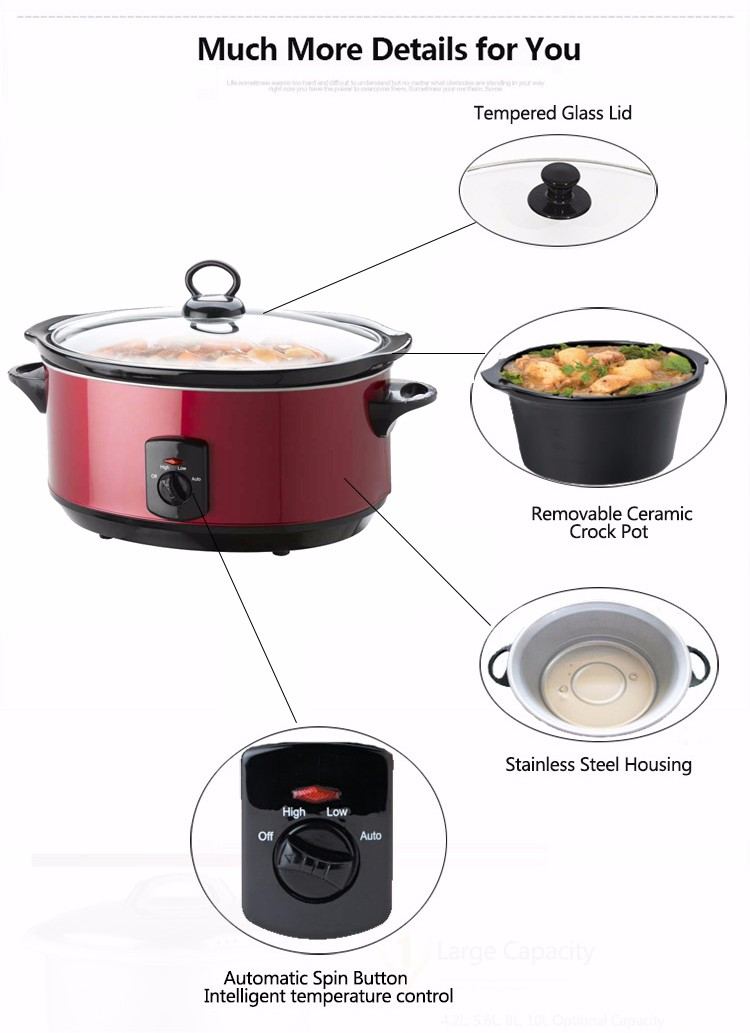 Chinese Wholesale Kitchen Appliance 2016 Modern Design Oval Shape Stainless Steel Crock Pot