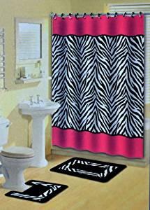 Get Quotations Pink Zebra Stripes Animal Print 15 Pcs Shower Curtain W Hooks Bathroom Rug Set
