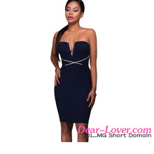 Dear-lover Contrast String Around Navy Bodycon modern african dress styles image